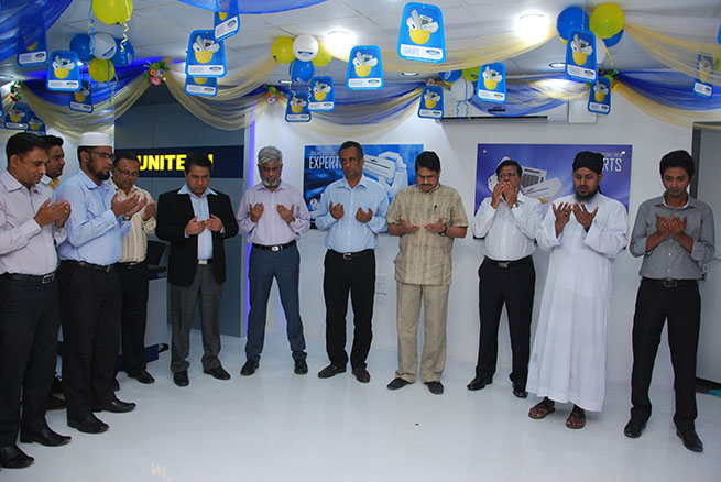 Guest praying for betterment of showroom